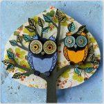 renkli baykuşlar doğal taş tablo 2016