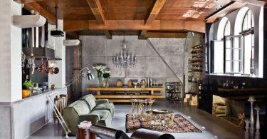ahşap yüksek tavanlar ile loft ev dekorasyonu