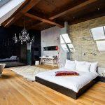 modern loft yatak odası dekorasyonu