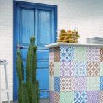 mutfak adası için desenli fayanslar