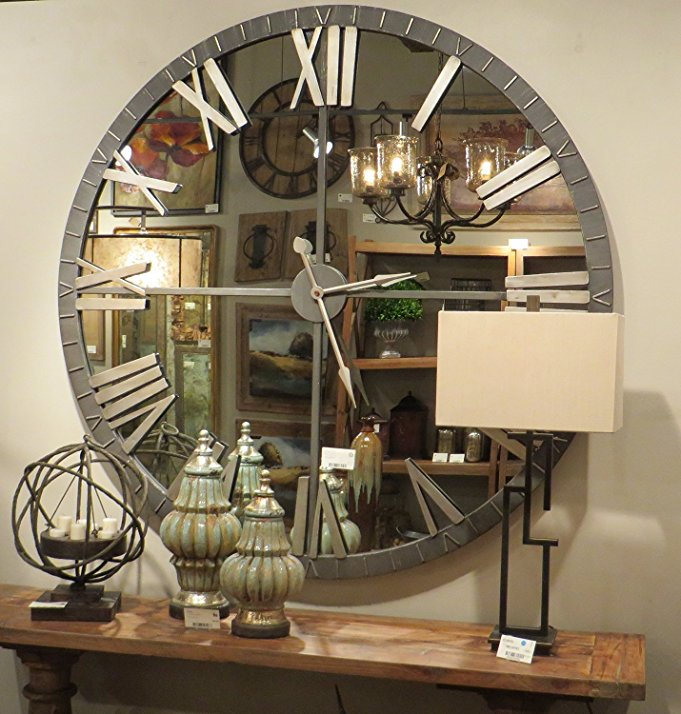 Ayna detaylı vintage duvar saati, ürünün amazon.com sitesinde satışı da mevcuttur.
