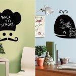 çocuk odası kara tahta duvar sticker modelleri
