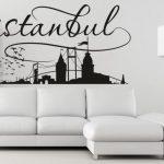 dekoratif duvar sticker ile salon duvar dekorasyonu 2016