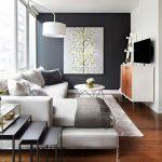 gri ve beyaz uyumu ile salon dekorasyonu 2016