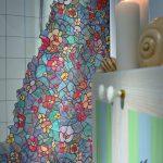 banyoda duşakabin süslemek için vitraylı yapışkanlı folyo