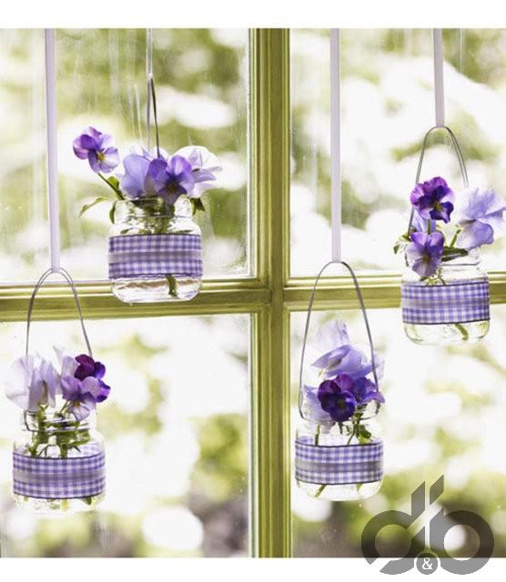 cam kavanozlar ile asılı vazo yapımı