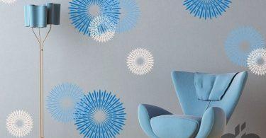 modern mavi halkalar dekoratif duvar çıkartmaları