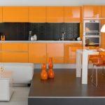 modern turuncu mutfak dekorasyonu 2016
