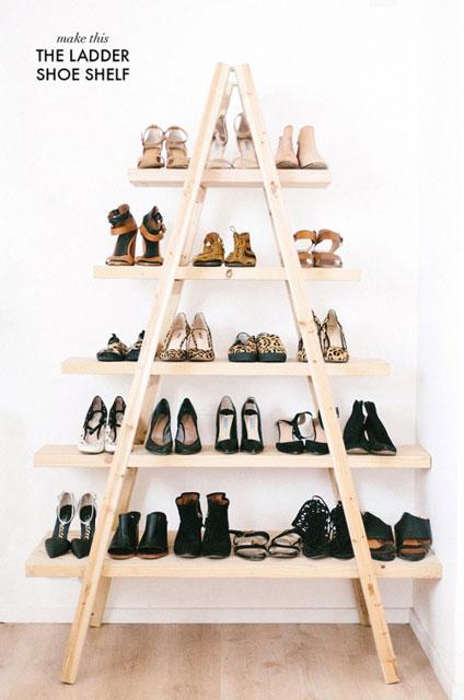 ahşap merdiven ile ayakkabılık yapımı