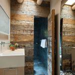 doğal ahşap kaplama banyo duvarları
