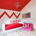 genç kız odası için zigzag desenli halı modeli