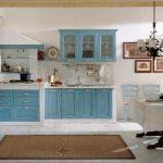 mavi nostaljik mutfak dekorasyonu