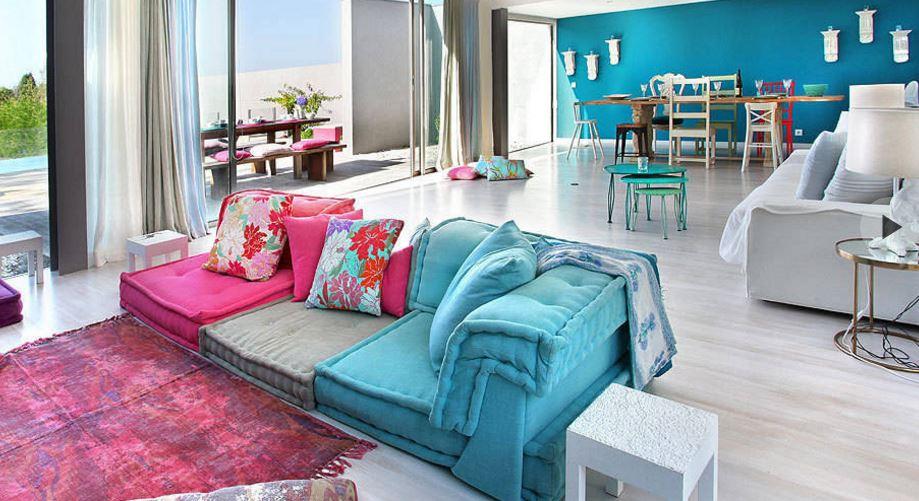 oturma odasına renk katan modern fikirler