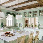 su yesili nostaljik mutfak dekorasyonu