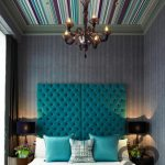 yatak odası dekorasyonu çizgili duvarlar