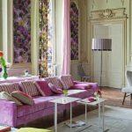çiçek desenli oturma odası dekorasyonu