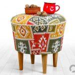 kilim desenli dekoratif puf