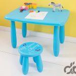 mavi dikdörtgen cocuk çalısma masa sandalye takımı