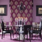 mor yemek odası dekorasyonu