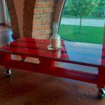 oldwooddesign kırmızı cam yüzeyli vintahe palet sehpa 269