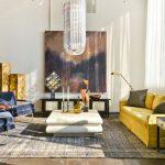 sarı kanepe ile etkileyici salon dekorasyonu