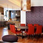 yemek odası için mor desenli duvar kağıtları