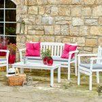 beyaz ahşap bahçe oturma takımı 2016