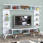 Minar Pan Tv Ünitesi Retro Ayaklı - Beyaz