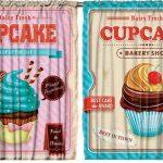 Cupcake Desenli Çift Kanatlı 3D Baskılı Fon Perde