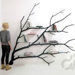 dekoratif ağaç kitaplık modeli