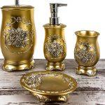 kabartmalı zarif altın rengi banyo seti 2016