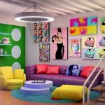 rengarenk pop-art ev dekorasyonu