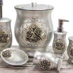 rose gümüş rengi banyo seti
