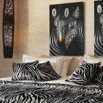 zebra temalı modern yatak odası dekorasyonu
