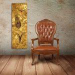 altın lale kanvas saat tablo