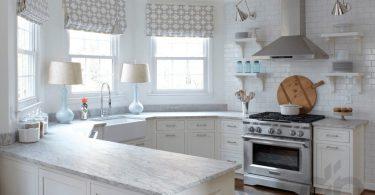 country tarzı zarif beyaz mutfak dekorasyonu