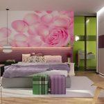etkileyici mor yatak odası dekorasyonu