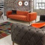 gri turuncu chester koltuk takımı