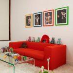 kırmızı ve beyaz uyumu modern salon stili