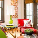 kırmızı yesil salon dekorasyon fikirleri