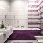 modern mor banyo dekorasyonu
