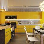 modern sarı mutfak dekorasyonu