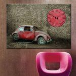 nostaljik araba dekoratif kanvas saat