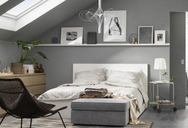 pastel tonları ile ferah ikea yatak odası