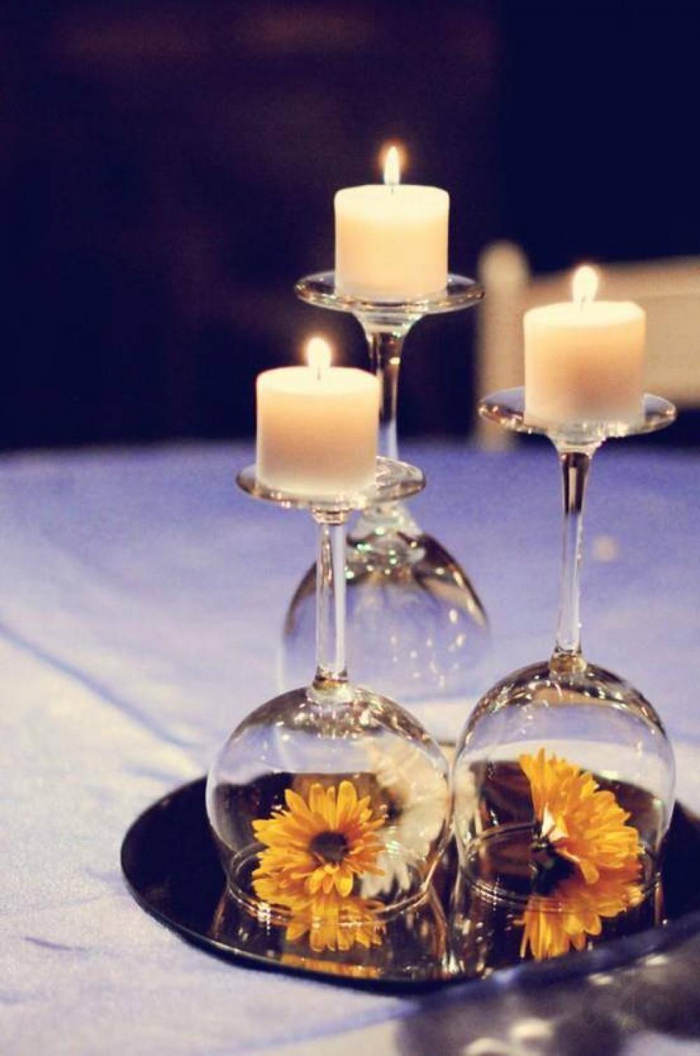 şarap kadehleri ile düğün dekorasyon fikirleri
