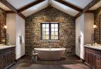 taş duvar banyo dekorasyon fikirleri