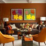 turuncu detaylı salon dekorasyonu