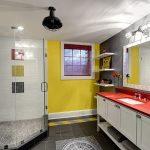 eklektik stili gri sarı banyo dekorasyonu