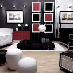 modern siyah salon dekorasyonu
