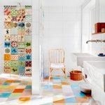renkli fayanslar ile yaratıcı banyo dekorasyonu
